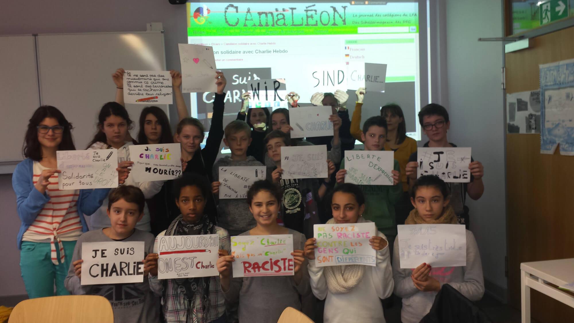 Camäléon solidaire avec Charlie Hebdo