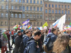 LGBT activists in St. Petersburg, Russia, 1 May 2017